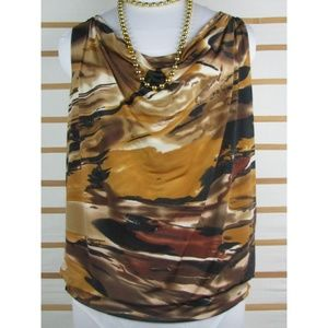 Artsy slinky pull over top draped neck & shoulders